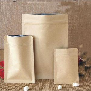 Borse Eco-Friendly 10 * 15 cm alimentari a prova di umidità della carta kraft alluminio Fodera Custodia a chiusura lampo Imballaggio Candy Bag biscotto cottura