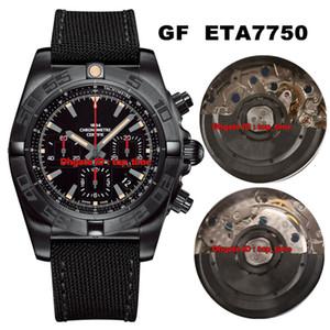 3 Style Top Best Watch GF 44 Chronomat Raven Blacksteel ETA7750 Reloj automático para hombre MB0111C3 Dial negro Correa de goma Caballeros Relojes deportivos