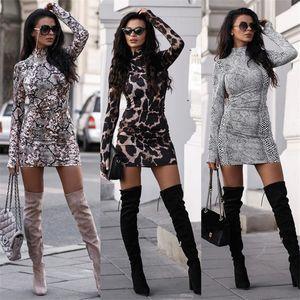 Collar manga comprida Standing vestido de mulher cobra Leopard Print Bodycon Vestido Outono Sexy Partido Vestidos Vestido