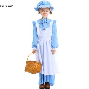 XS-XL Blue Medieval Girls Halloween Contadino contadino donna Costumi bambini Cameriera Cosplays Carnival Purim party Party play party dress
