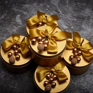 Creative Golden Tinplate Wedding Favor Candy Box Creative Pearl Flower Exquisite Round Candy Case Party Decoration Supplies
