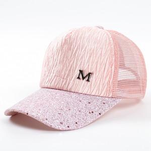 M Letra Cap Verão Malha Bonés de Beisebol Menina Rugas Snapbacks Moda Hip Hop Cap Hat Casais Cap Chapéus Bonitos GGA2015