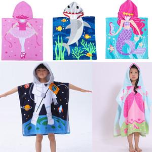 Karikatür Çocuk Kapşonlu Plaj Havlusu Battaniye Süper Emici Banyo Havlu Swim Havuz Havlu Bebek Robe Çocuk Toalha Cape Cloak