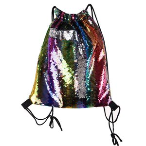 Sexy2019 Hot Glitter Mermaid Sequins Backpacks Drawstring Portable Glittering Outdoor Shoulder Gym Sport Sack Bag 36*42cm 12pcs 8styles