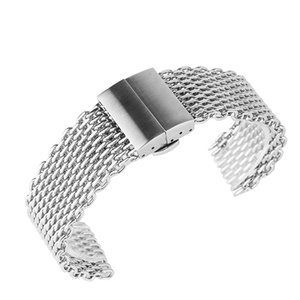 Watchbands 22mm Silver Mesh Stainless Steel Watchband Hidden Butterfly Buckle Men Women Watches Strap Fashion Watch Replacement Bracelet