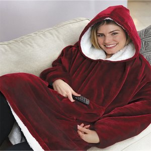 Sleeves 포켓 Hoodie 담요 스웨트와 함께 Microfine 따뜻한 담요 TV Fleece With Hood