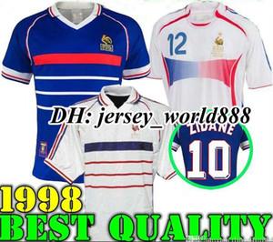 1998 FRANSA geçmişe ait eski Zidane HENRY MAILLOT DE AYAK futbol formaları üniforma Futbol Formalar gömlek beyaz uzakta finalleri 2006