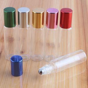 5 ml 10 ml Klarglas Ätherisches Öl Parfümflaschen Edelstahlkugelrolle auf Flaschen Reisegröße Tragbarer Flüssigkeitsspender Behälter