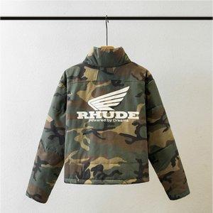 2020 Yeni RHUDE Bombacı Ceket Bay Bayan Moda Günlük Kış Kalın Sıcak Kamuflaj Yeşil Ordu RHUDE Parkas Ceket Coat T200502