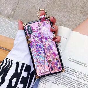 Mytoto De lujo de alta calidad de moda metal cuadrado láser correa para la muñeca para teléfonos móviles iPhone para iPhone X XR XS MAX 6 6 S 7 8 más caso