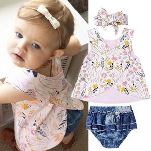 Baby girls outfits 신생아 꽃 무늬 프린트 탑 + 머리띠와 주름 장식 팬티 3pcs / set 2019 summer fashion Boutique kids Clothing Sets C6104
