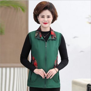 Waistcoat Coat Casual Middle Age Women Sleeveless Jacket Mother Tops Spring Fall Plus Size Cardigan Vest