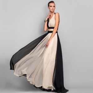 Elegant V-Neck Long Evening Party Dress Women Chiffon Gowns Hollow Out Backless Formal Dresses Ladies Black Maxi Vestidos