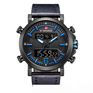 LED NAVIFORCE buona qualità originale di quarzo analogico uomini di sport impermeabile cinturino in pelle multifunzione orologio da polso 9135