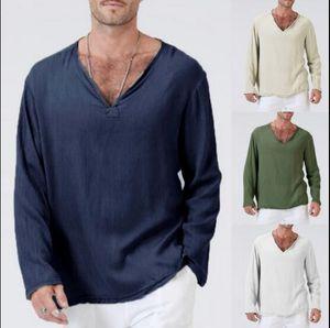 homens soltos estilo folk linho V-neck planície T-shirt de manga comprida 2020 casuais T camisas masculinas de algodão homens verão e linho