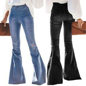 Vintage клеш джинсы Denim Flare брюки Wide Leg Женщины Повседневная Boot-Cut Pant Женские брюки для женщин Колено Hole