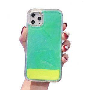 Leuchtende Neon Sand-Kasten für Iphone 11 Flüssiges Glitter Quick Glow In The Dark Handy-Fall-Abdeckung für Iphone 6 7 8 XR XS MAX X