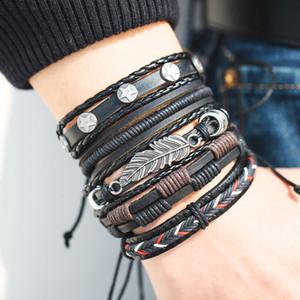 Fashion Leaf Feather Multilayer Leather Bracelet Men Vintage Braided Handmade Star Rope Wrap Bracelets & Bangles Male Gift
