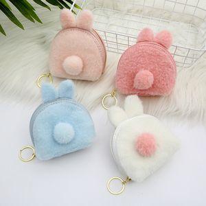 겨울 플러시 만화 동물 여성 동전 지갑 쉘 작은 가방 여자 동전 가방 카드 키즈 클러치 지갑