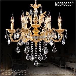 Классические хрустальные люстры светильник Золотой кулон кристалл Luster Лампы для Фойе Лобби MD8861 Clear Кри