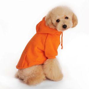 Moda Small Dog Pet roupa bonito Fleece Bolso Cotton Hoodie Sólidos camisola morna filhote de cachorro Algodão Brasão Vestuário