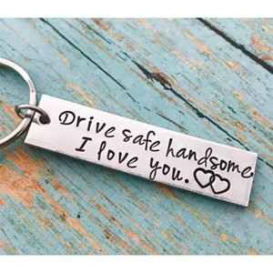 Stainless Steel Drive Safe Handsome I Love You Engraved Keychain Keyring Pendants Kits for Husband Boyfriend Gift Wedding Favor HOT