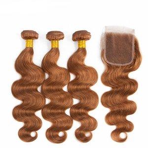 Предварительно окрашенные # 30 Волна тела Remy Человеческие волосы Wefts Weeving Toovens Weaves с крышкой 4x4