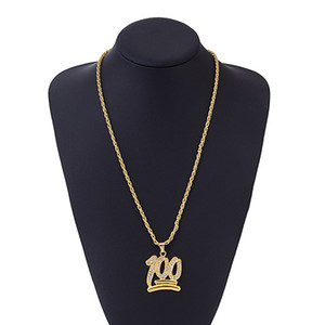 High Street Trend 100 Points Necklace Personality Hip Hop Diamond Pendant Necklace Fashion Designer Mens Chain