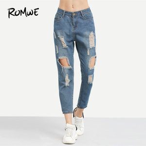 Romwe Blue Ripped Distressed Boyfriend Ankle Denim Jeans Women Casual Summer Autumn Plain Straight Leg Pants Spring Trousers C19041801
