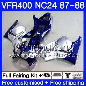 Cuerpo para HONDA RVF400R VFR400 R NC24 V4 RVF400RR Azul plateado VFR400R 87 88 267HM.11 RVF VFR 400 R VFR400RR VFR 400R 1987 1988 Juego de carenado