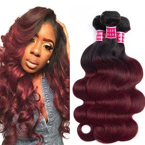 Charmingqueen faisceaux de cheveux vague malaisienne 1b / bourgogne vague de corps malaisienne Hair Weave ombre Extension de cheveux humains non remy