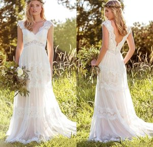 Modeste bohémiennes Robes de mariée en dentelle robe de mariée Backless Robe De Noivas col en V à mancherons robe de mariée Vestito Da Sposa Plus Size