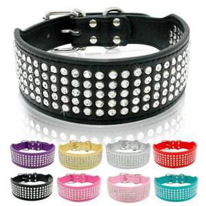 Rhinestone Leather Dog Collars Bling Diamante Crystal Studded Dogs Pet Collars 2inch Wide for Medium & Large Dogs Pitbull Boxer