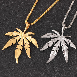 Gold Chains For Men Hip Hop Jewelry Silver Gold Plated Maple Leaf Pendant Long Gold Chains Hip Hop Bling Necklace Mujer Iced Out Chain