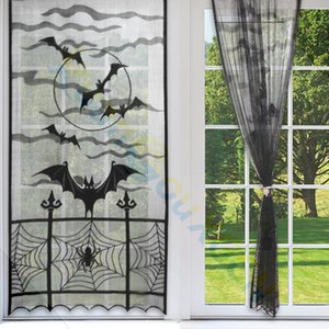 Halloween Curtains black lace bat spider web window curtain door hanging curtain Horror home Festival party DIY decorations