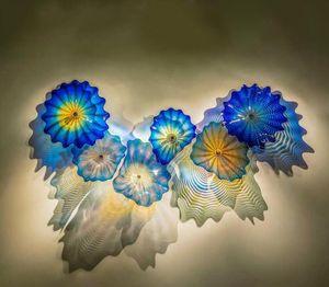 الزرقاء الزجاج الملون مصابيح الحائط الأمريكية الزهور يدوية زجاج مورانو ستريت الإضاءة المستخلص زجاج جدار الفن شحن مجاني الضوء