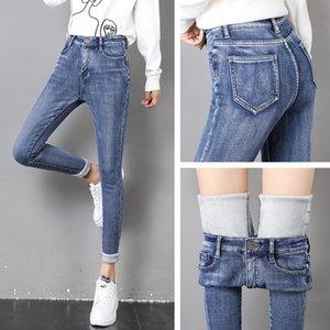 Winter Warm Jeans Women 2019 New High Waist Stretchy Female Thick Fleece Denim Trousers Slim Elastic Jeans Velvet Pencil Pants