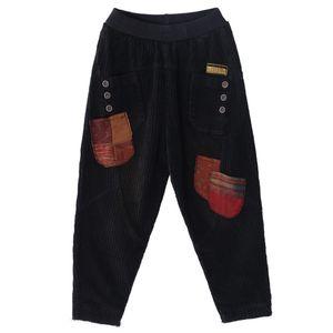 Mens Vintage Pantaloni larghi Womens Patchwork casual Corduroy Hip Hop elastico Pantaloni Tide sciolte maschi Streetwear