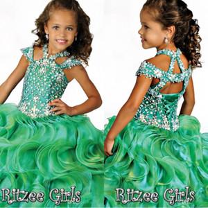 2020 cristallo paillettes ragazze Pageant Dresses Organza Nuovo Glitz Infant Occasioni speciali Gonne Bambino Tutu festa di compleanno Breve Pageant abiti