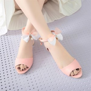 PXELENA Kawaii Sweet Girls Low Heels Sandals Butterfly-knot Princess Bride Wedding Sandal White Pink Blue Lady Shoes Plus Size