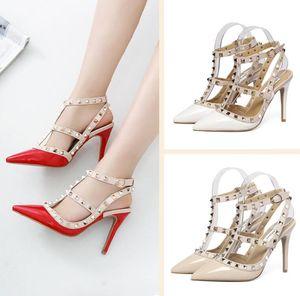 Summer fashion luxury designer women shoes 8cm high heels studded sandals sexy ladies wedge sandals red bottom spike Party wedding Sandales