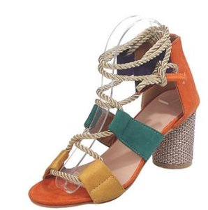 Ready To Ship 2020 New Popular Women's Shoes Color Block Thick Heel Lace Open Toe Color Sandals