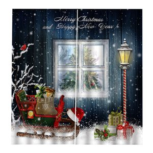 2 Panel Christmas Decorative Window Curtain for Christmas Home Kitchen Decoration, 55'' X 39'', Christmas Gift Car & Snowflake and Window