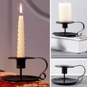 Retro Taper Candelabro de hierro de estilo europeo de la palmatoria del sostenedor del soporte de la vela para el partido de Navidad de Navidad de cumpleaños HH9-2523