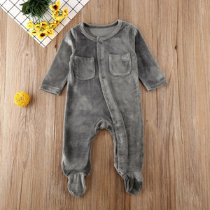 Newborn Infant Baby Girl Boy Romper Clothes Velvet Solid Long Sleeve Single Breasted Romper Jumpsuit Outfits