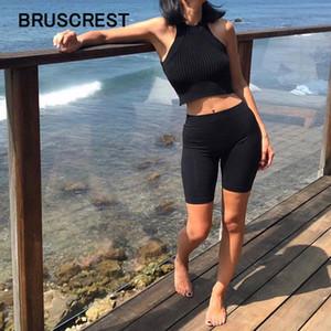 Biker Survêtement Slim Blanc Noir Casual taille haute Femmes Fitness solide Sexy Booty Shorts d'été 2019 Y200512
