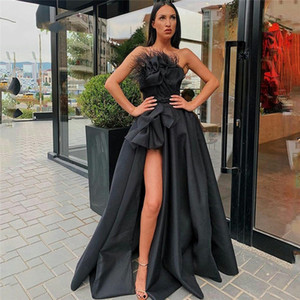 Black High Split Evening Dresses 2020 Strapless Feather Draped Satin Prom Dress Custom Made Formal Party Gowns