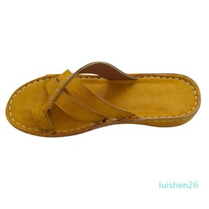 Summer Sandals Women Wedges Shoes Yellow Open Toe Non-Slip Slip On Sandals Flip Flops Beach Shoes Woman Casual Roman Slipper New 26l