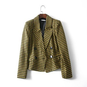 2018 New Yellow Autumn Women Blazers Female Winter Vintage Swallow Gird Jacket Office Lady Casual Tops blazer feminino Clothes