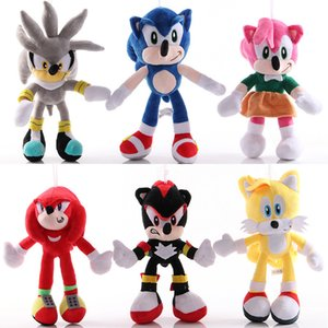 6pcs lot Sonic Plush Doll Toys 25-30cm Animal Plush Doll The Hedgehog Animal Soft Stuffed for Children Kids Birthday Gift Y200703